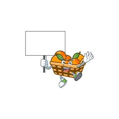 An icon of basket oranges cartoon character style bring board. Vector illustration