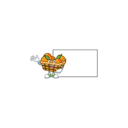 Smiley basket oranges with whiteboard cartoon character design. Vector illustration