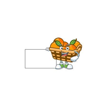 Cheerful basket oranges cartoon character having a board. Vector illustration Ilustração