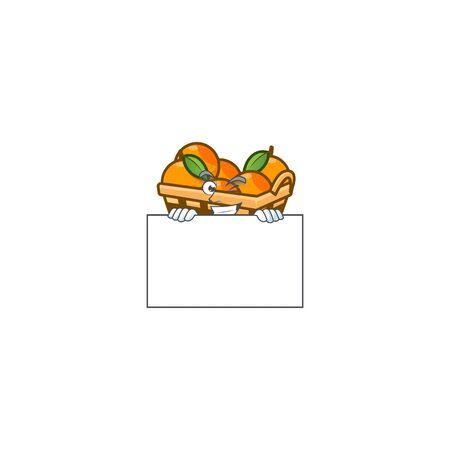 Grinning face basket oranges cartoon character style hides behind a board. Vector illustration Ilustração