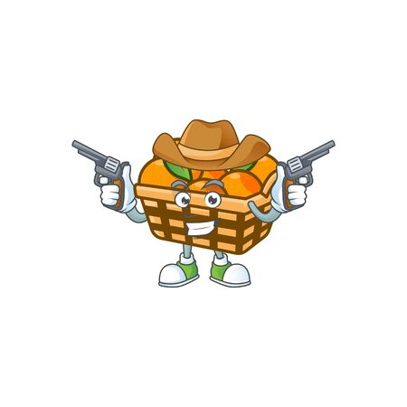 Confident basket oranges Cowboy cartoon character holding guns. Vector illustration