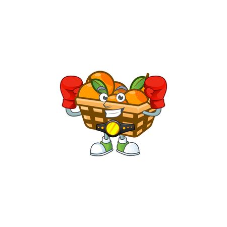 Happy Face Boxing basket oranges cartoon character design. Vector illustration