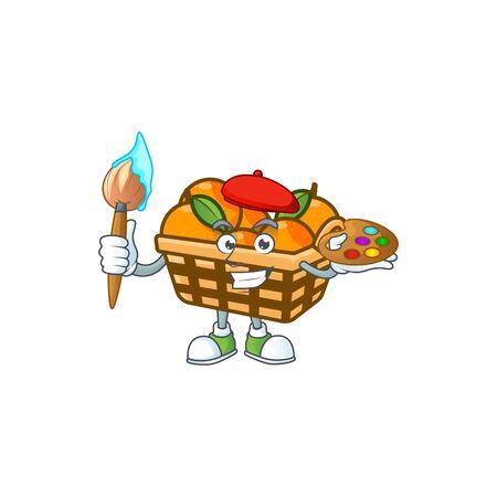 Smart basket oranges painter mascot icon with brush. Vector illustration
