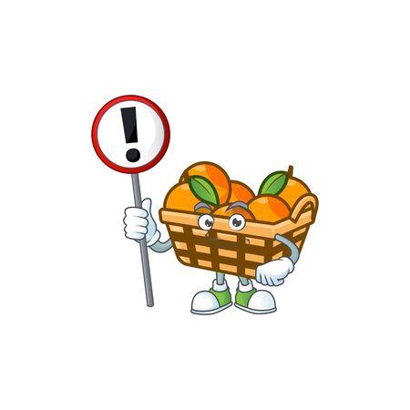 A picture of Cartoon mascot of basket oranges rise up a broad. Vector illustration Ilustração