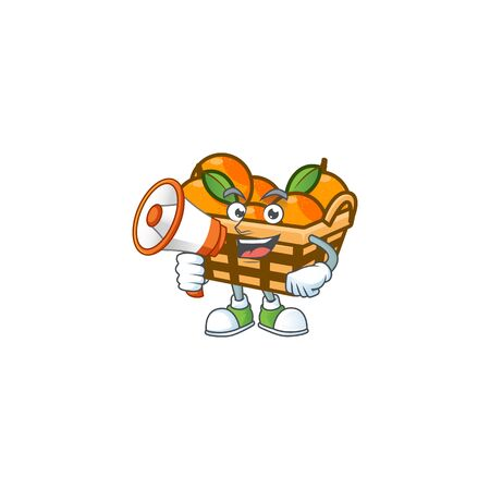 Cool cartoon character of basket oranges holding a megaphone. Vector illustration