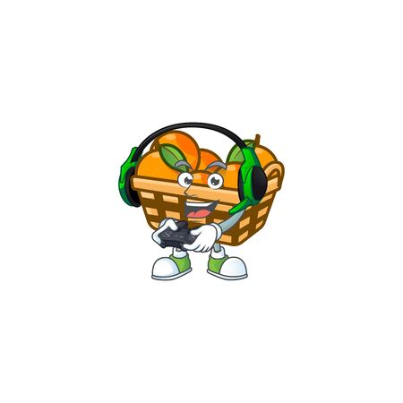 Cool basket oranges cartoon mascot with headphone and controller. Vector illustration