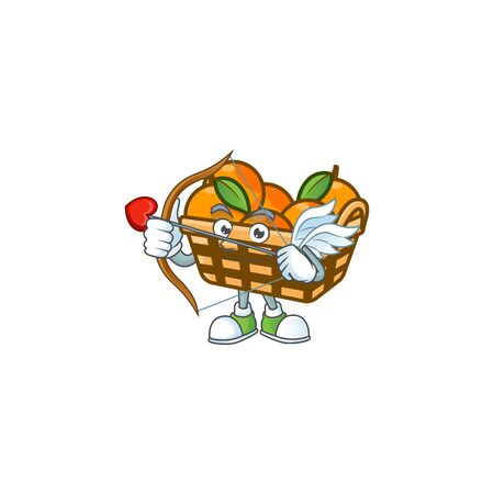 A romantic sweet basket oranges Cupid with arrow and wings. Vector illustration