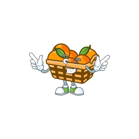 Funny face basket oranges cartoon character style with Wink eye. Vector illustration