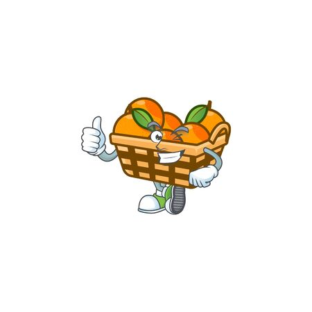 An icon of basket oranges making Thumbs up gesture. Vector illustration