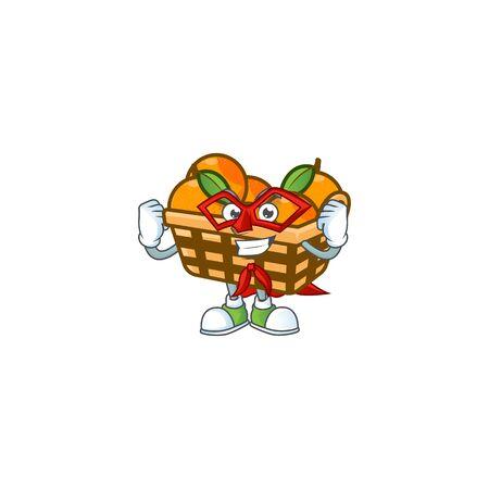 Smiley mascot of basket oranges dressed as a Super hero. Vector illustration