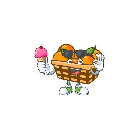 Basket oranges mascot cartoon design with ice cream. Vector illustration