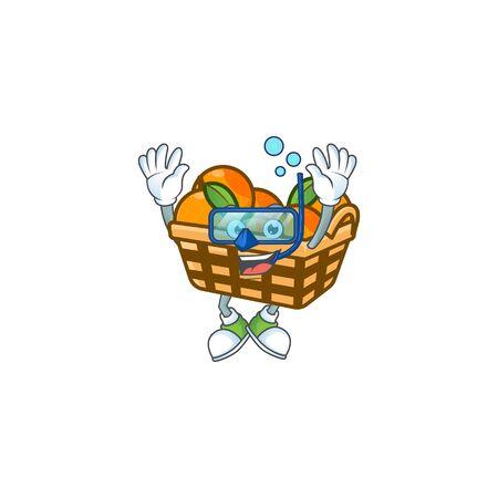 cartoon character of basket oranges wearing Diving glasses. Vector illustration