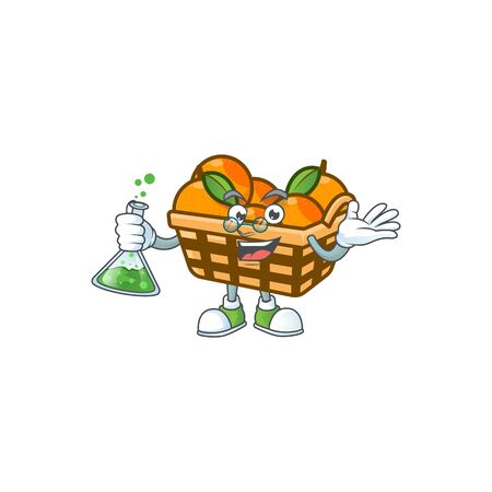 Smart Professor basket oranges cartoon character with glass tube. Vector illustration