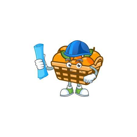 Elegant Architect basket oranges having blue prints and blue helmet. Vector illustration