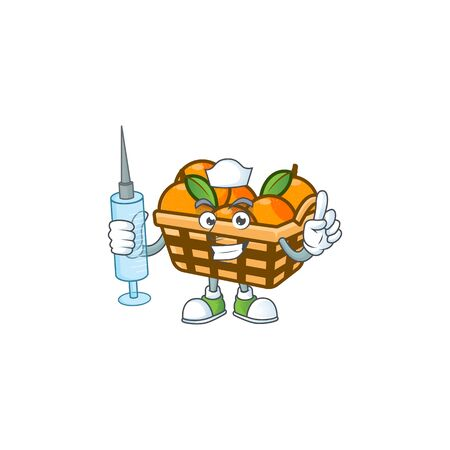 Smiley Nurse basket oranges cartoon character with a syringe. Vector illustration