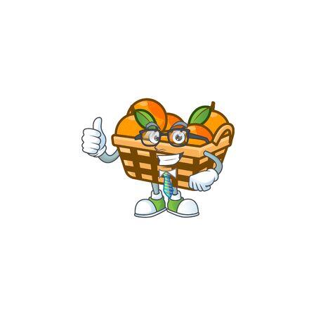 cartoon character of Businessman basket oranges wearing glasses. Vector illustration Ilustração