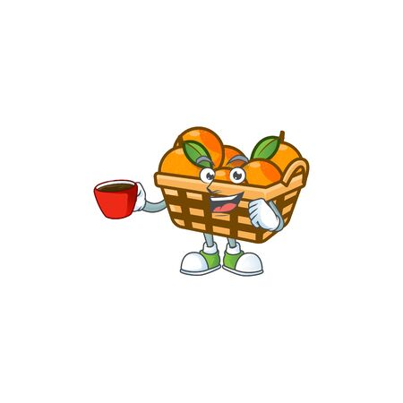 cartoon character of basket oranges with a cup of coffee. Vector illustration