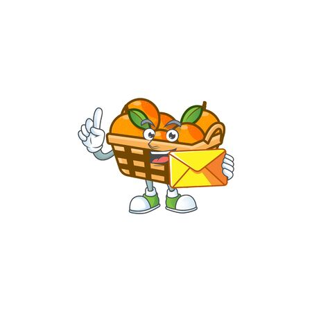 Cheerfully basket oranges mascot design with envelope. Vector illustration