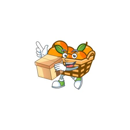 Cute basket oranges cartoon character having a box. Vector illustration