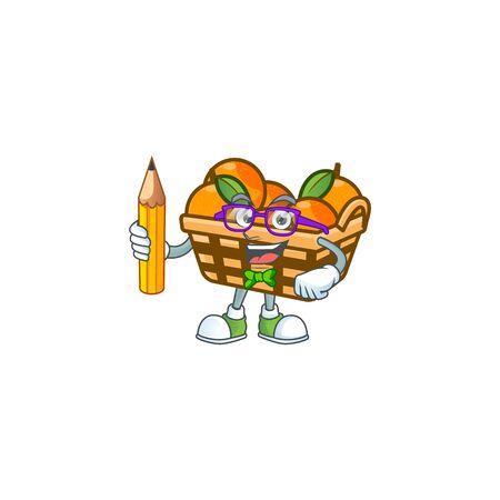 A picture of Student basket oranges character holding pencil. Vector illustration Ilustração