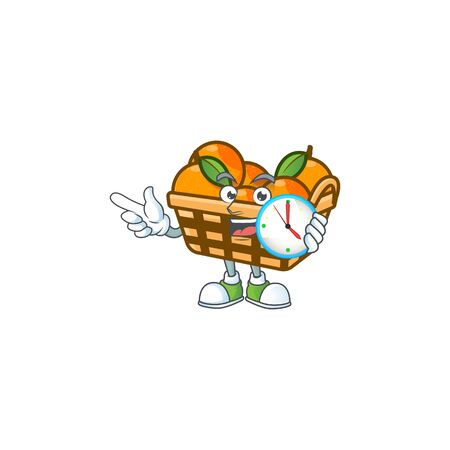 cartoon character style basket oranges having clock. Vector illustration