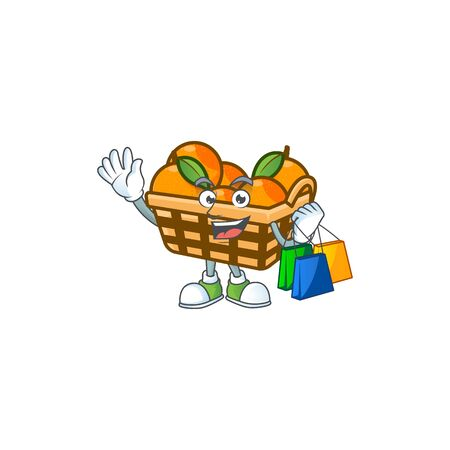 A happy rich basket oranges waving and holding Shopping bag. Vector illustration