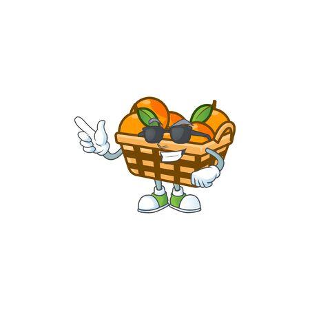 Super cool basket oranges character wearing black glasses. Vector illustration Ilustração