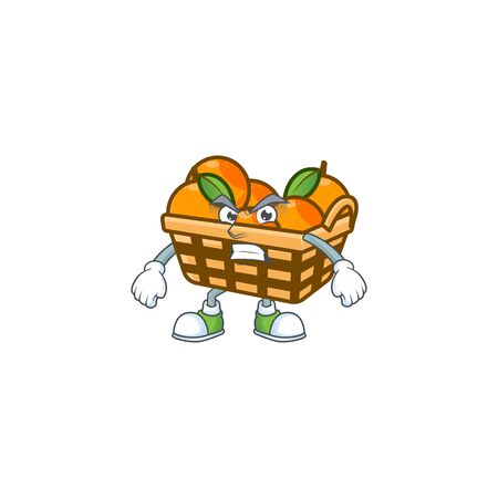 cartoon character of basket oranges with angry face. Vector illustration