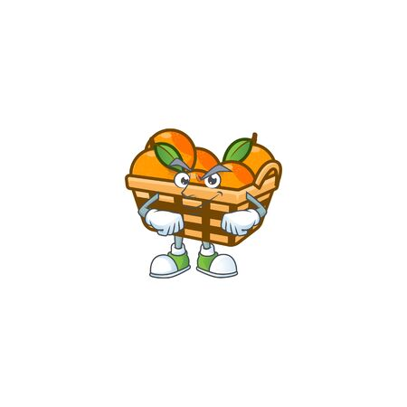 Basket oranges mascot cartoon character style with Smirking face. Vector illustration