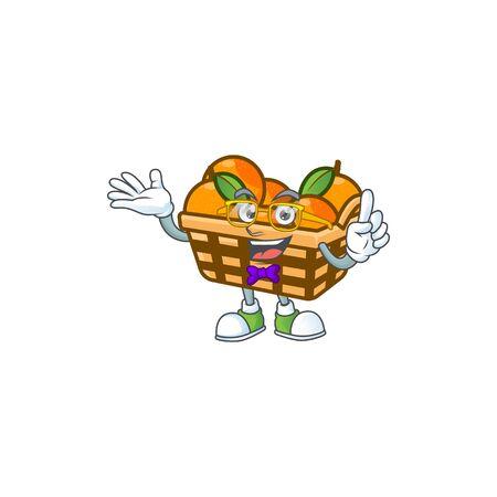 cartoon character of Geek basket oranges design. Vector illustration