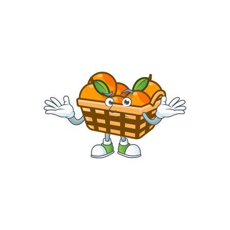 Super Funny Grinning basket oranges mascot cartoon style. Vector illustration Ilustração