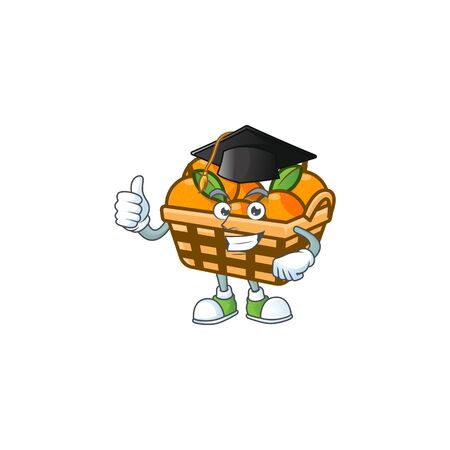 happy and proud of basket oranges wearing a black Graduation hat. Vector illustration