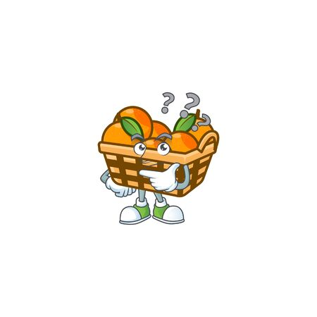 Basket oranges cartoon mascot style with confuse gesture. Vector illustration