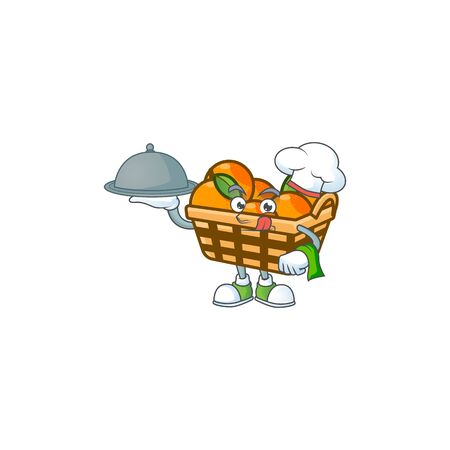 cartoon design of basket oranges as a Chef having food on tray. Vector illustration