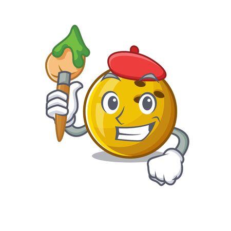 Cartoon character of bowling ball Artist with a brush Illusztráció