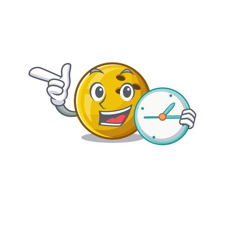 cartoon character style bowling ball having clock. Vector illustration 向量圖像