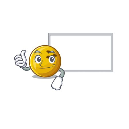Thumbs up of bowling ball cartoon design with board. Vector illustration