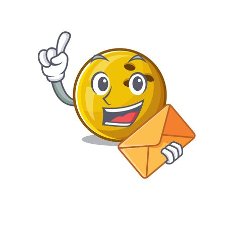 Cheerfully bowling ball mascot design with envelope 일러스트