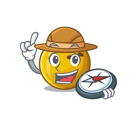 Bowling ball stylized Explorer having a compass