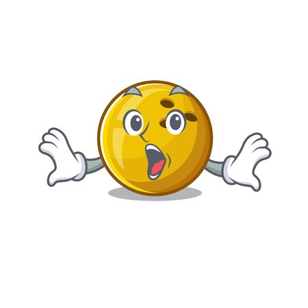 Bowling ball cartoon character design on a surprised gesture