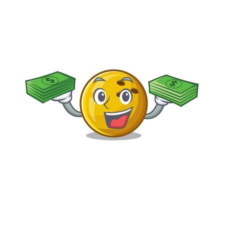 happy rich bowling ball character with money on hands. Vector illustration