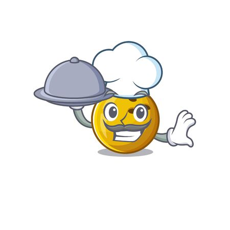 cartoon design of bowling ball as a Chef having food on tray