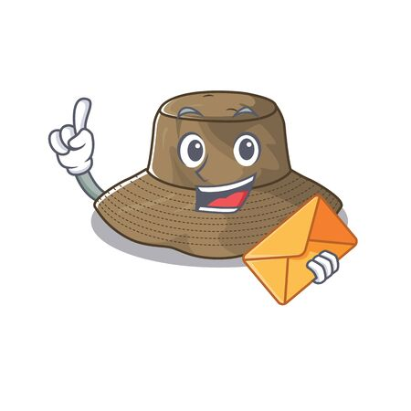 Cheerfully bucket hat mascot design with envelope. Vector illustration