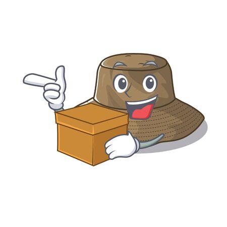 Cute bucket hat cartoon character having a box. Vector illustration 일러스트