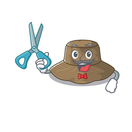 Smiley Funny Barber bucket hat cartoon character design style
