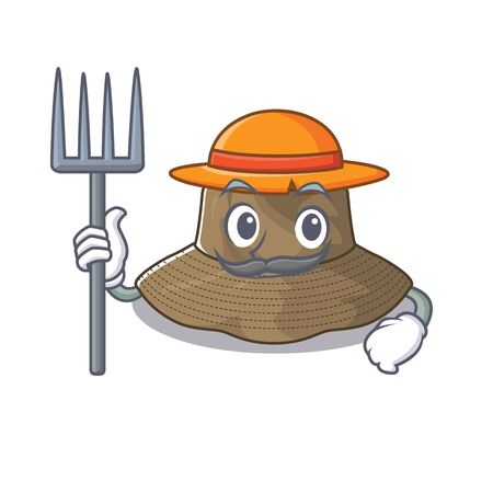 Cheerfully Farmer bucket hat cartoon picture with hat and tools. Vector illustration