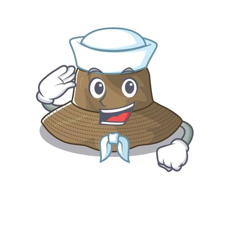 A mascot design of bucket hat Sailor wearing hat. Vector illustration