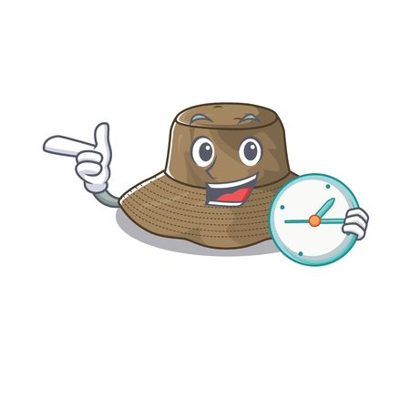 cartoon character style bucket hat having clock 向量圖像