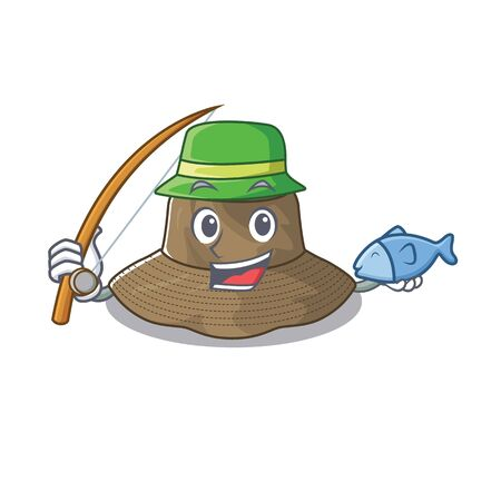 A Picture of happy Fishing bucket hat design Stock Illustratie