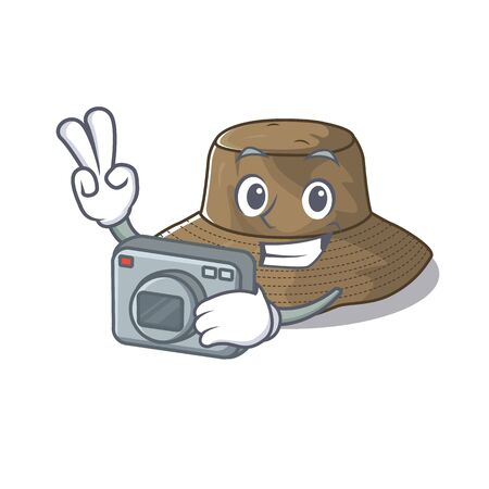 Cool Photographer bucket hat character with a camera